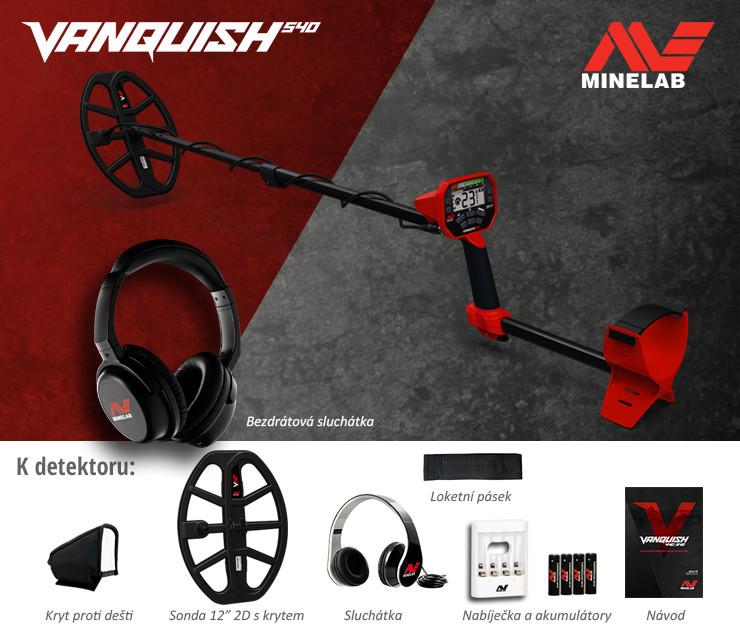 Minelab Vanquish 540 + bezdrátová sluchátka
